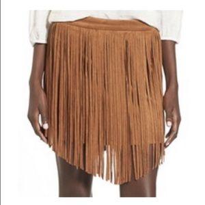 NWT Jolt faux suede tassel mini skirt, Sz. 5